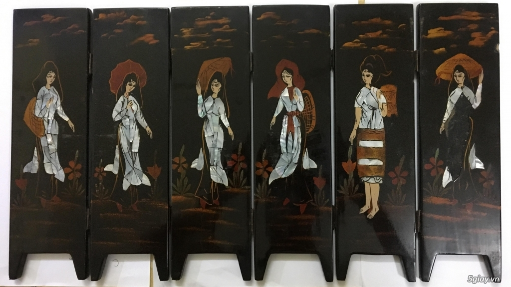 Cần bán tranh sơn mài khảm trai 6 bức bình phong cổ xưa - 1