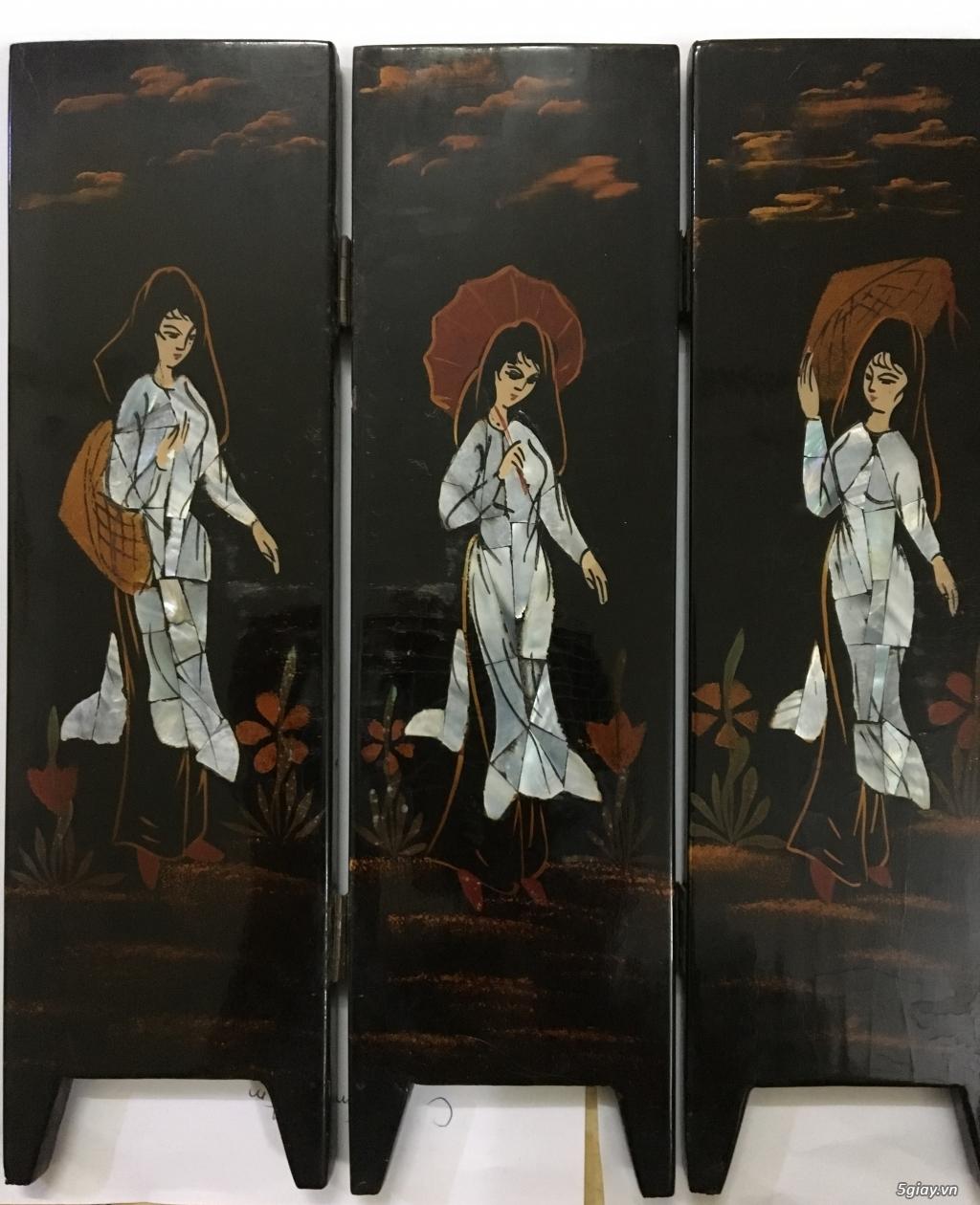 Cần bán tranh sơn mài khảm trai 6 bức bình phong cổ xưa - 2