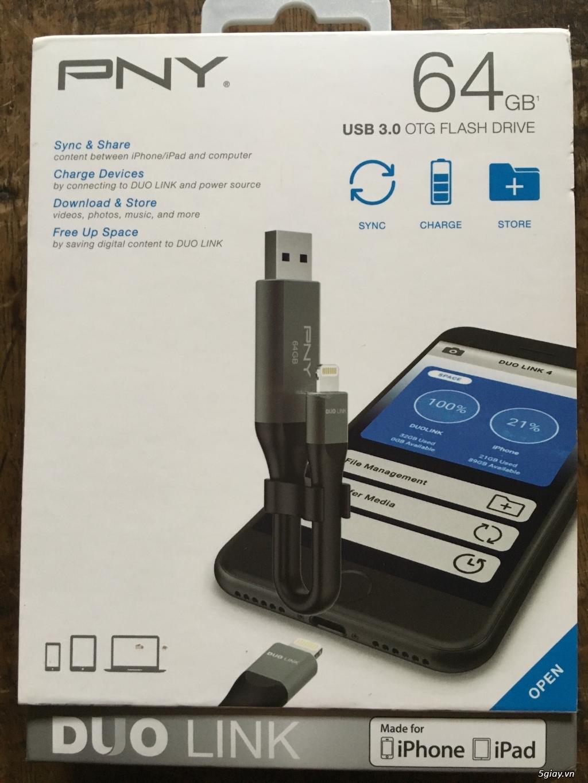 Usb 3.0 OTG PNY 64Gb usa 2 đầu cắm dành cho iphone, ipad, và laptop, end 23h00-16/09/2019