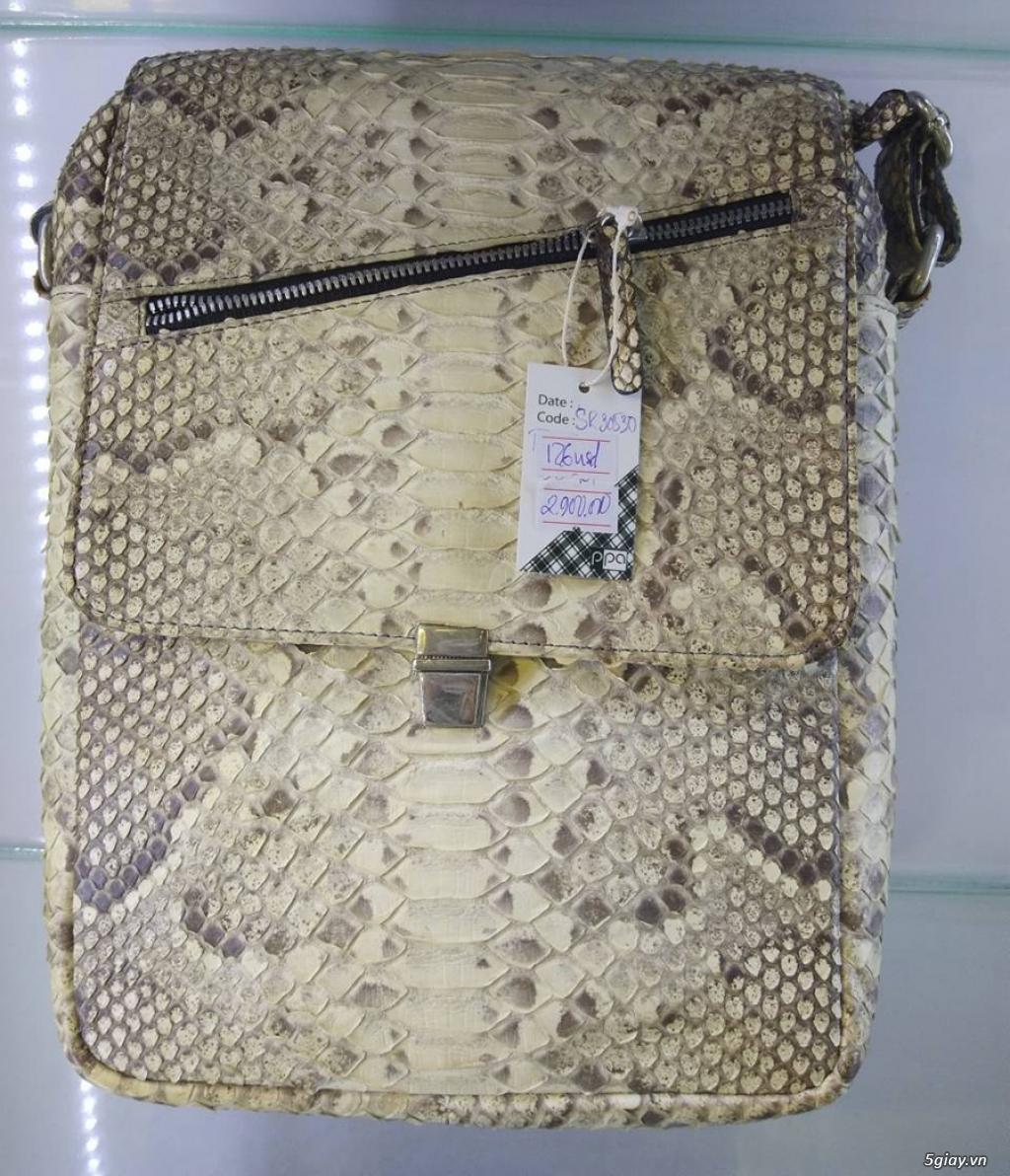 Thanh lý túi xách da đà điểu, da bò, da trăn, da cá sấu thật 100% - 17