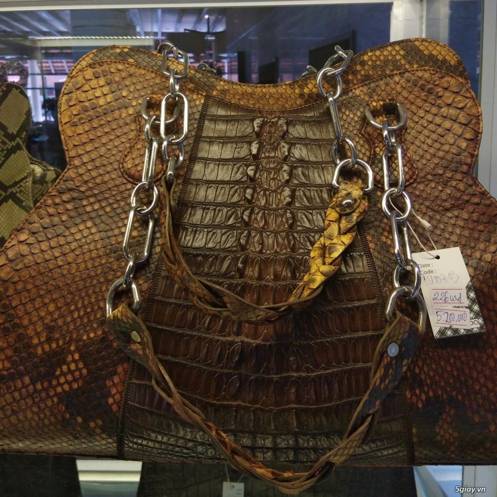Thanh lý túi xách da đà điểu, da bò, da trăn, da cá sấu thật 100% - 13