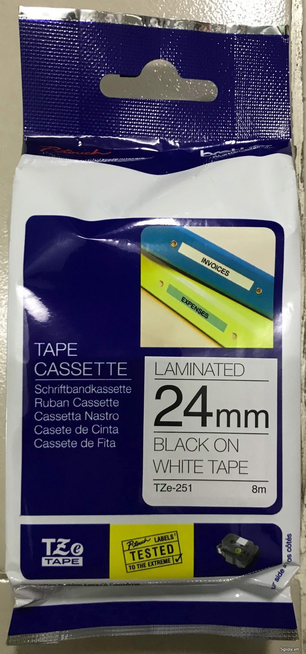 Nhãn Brother TZe-251 TZe-Tape Black on White 24mm - 1