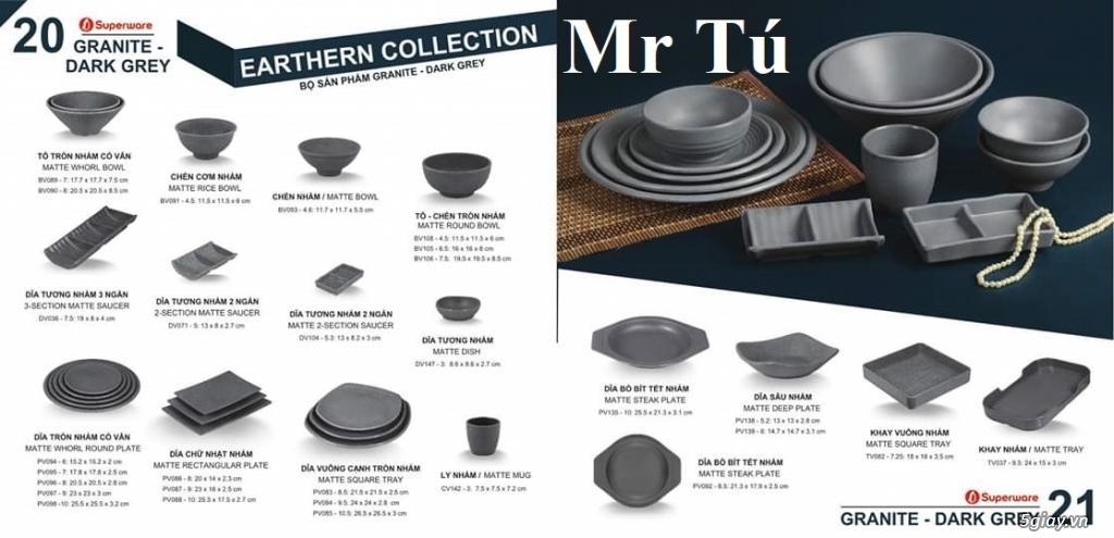 Chén Dĩa Nhám Superware Thái Lan - Granite - Dark grey