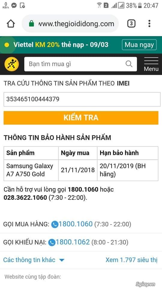 Galaxy A7 2018 gold mới 99% còn bảo hành 20/11/2019