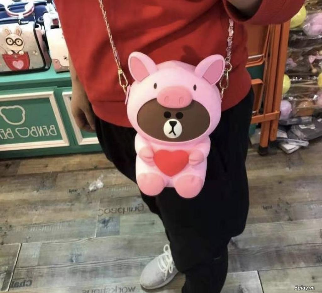 Túi đeo chéo Gấu Brown Linefriend - Túi Hình con Heo con vịt - 31