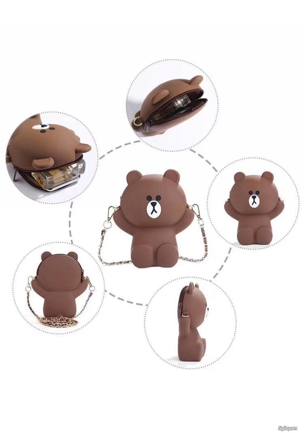 Túi đeo chéo Gấu Brown Linefriend - Túi Hình con Heo con vịt - 10