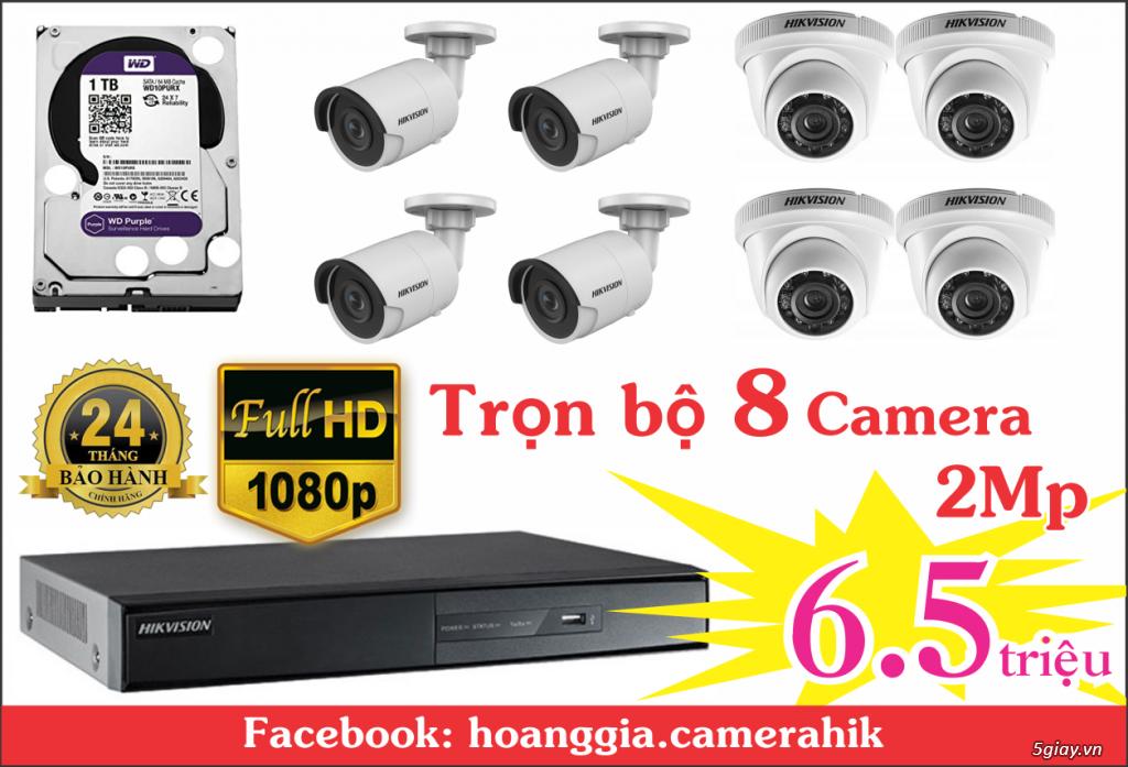 Trọn bộ 8 camera 2mp HikVision giá chỉ 6.5tr