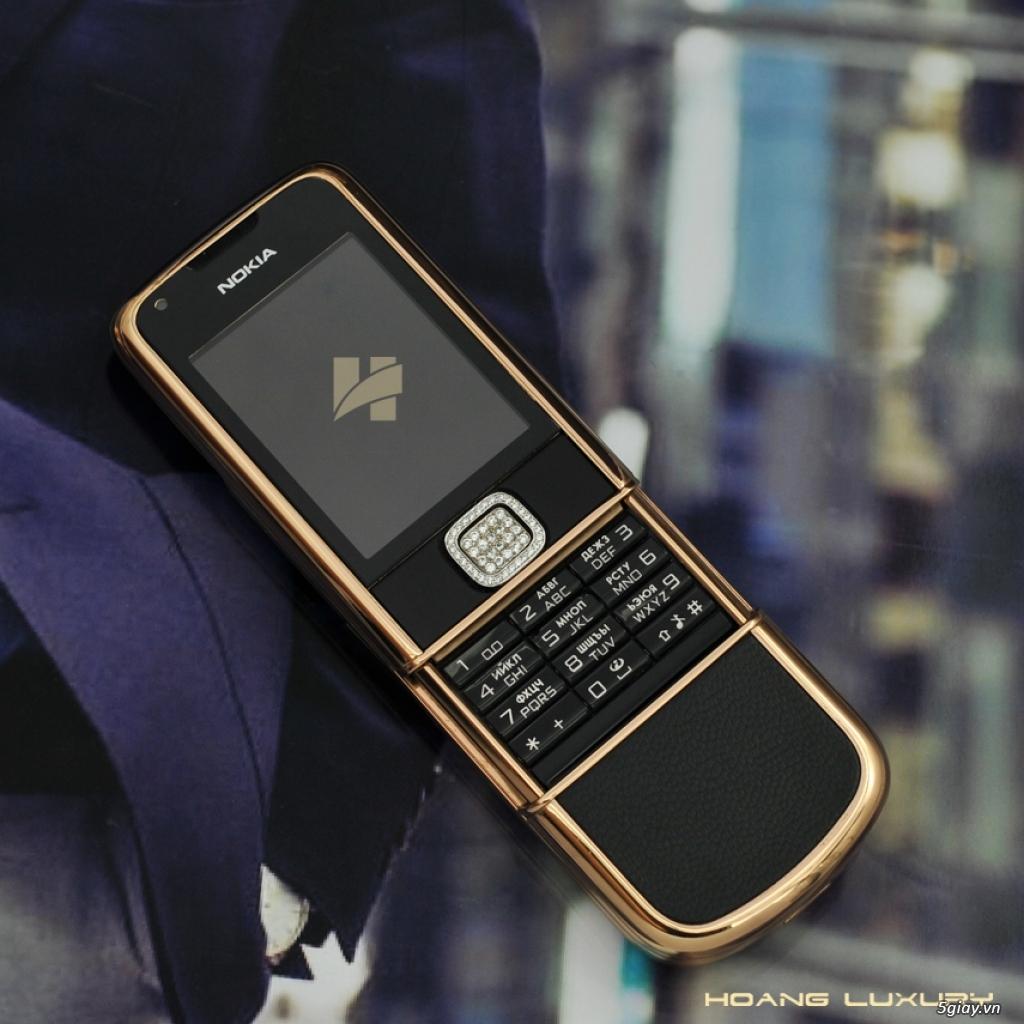 HoangLuxury - Điện thoại Nokia 8800 vàng hồng da đen phím đính full đá - 4