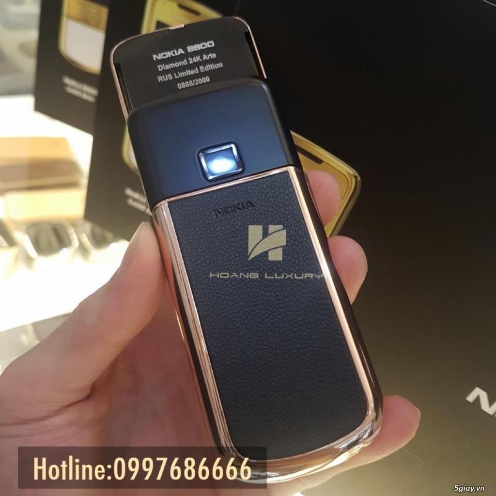 HoangLuxury - Điện thoại Nokia 8800 vàng hồng da đen phím đính full đá - 3