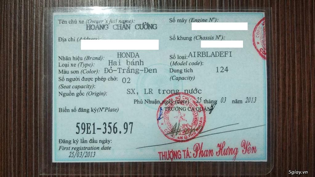 Xe Air Blade 2013 zin 1 đời chủ, ngay chủ đứng bán giá rẻ. - 5