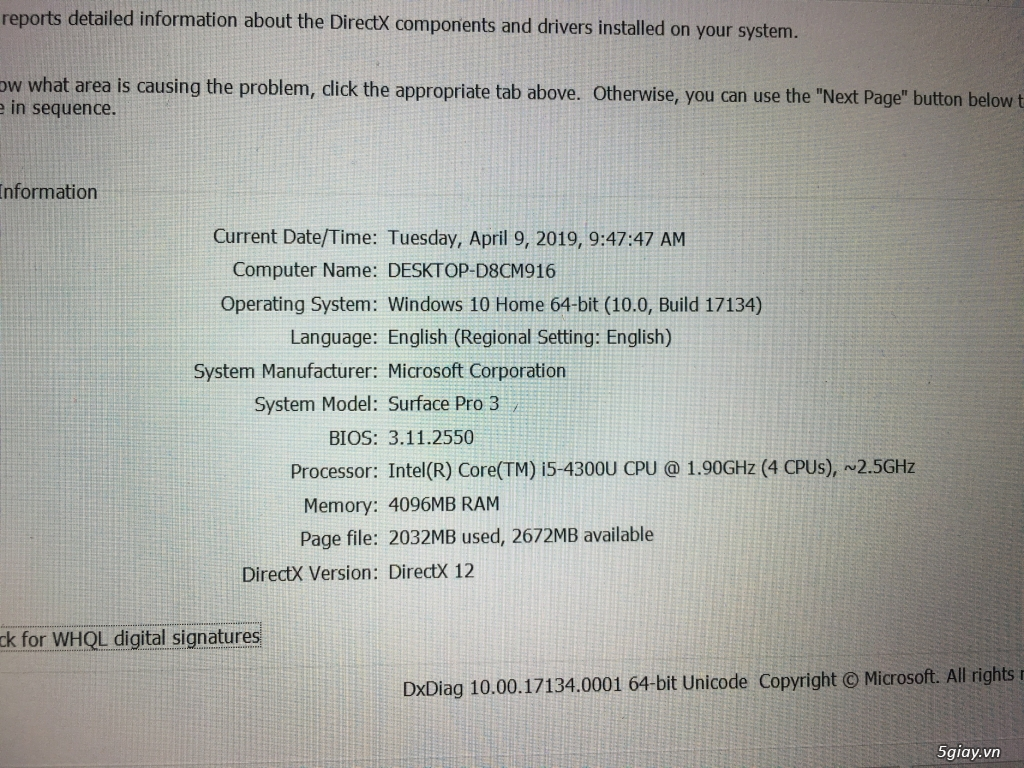 Bán Surface Pro 3 SSD 128GB Core i5 - 2