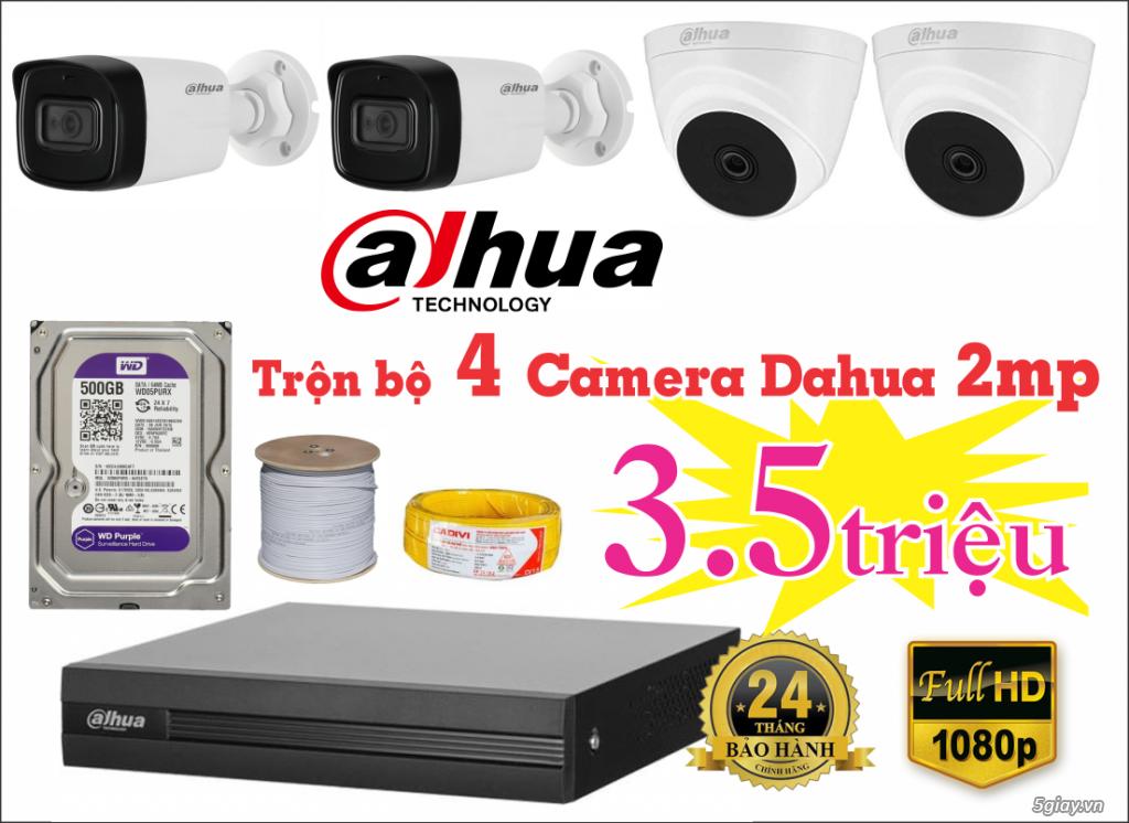 Trọn bộ 4 Camera 2mp DAHUA giá chỉ 3,5tr