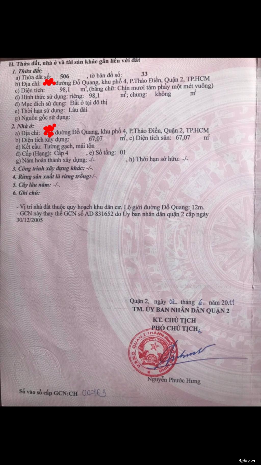 Đất 6x17 mặt tiền Đỗ Quang Thảo Điền Quận 2 - 1