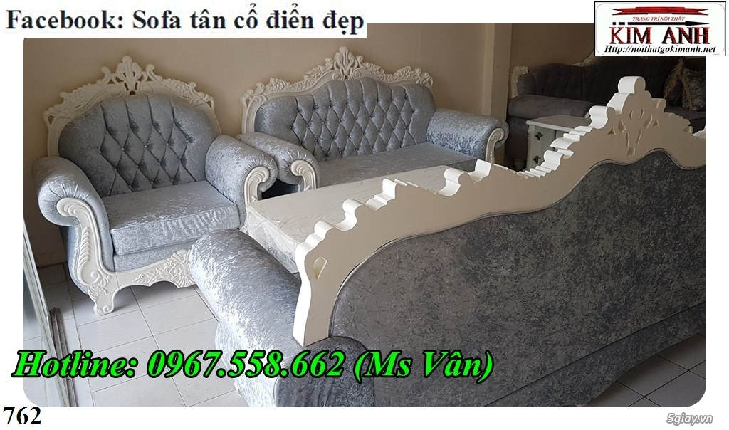 Ghế sofa tân cổ điển - bộ bàn ghế phòng khách gỗ quý đẳng cấp châu âu - 5
