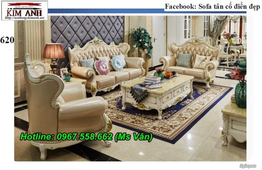 Ghế sofa tân cổ điển - bộ bàn ghế phòng khách gỗ quý đẳng cấp châu âu - 7