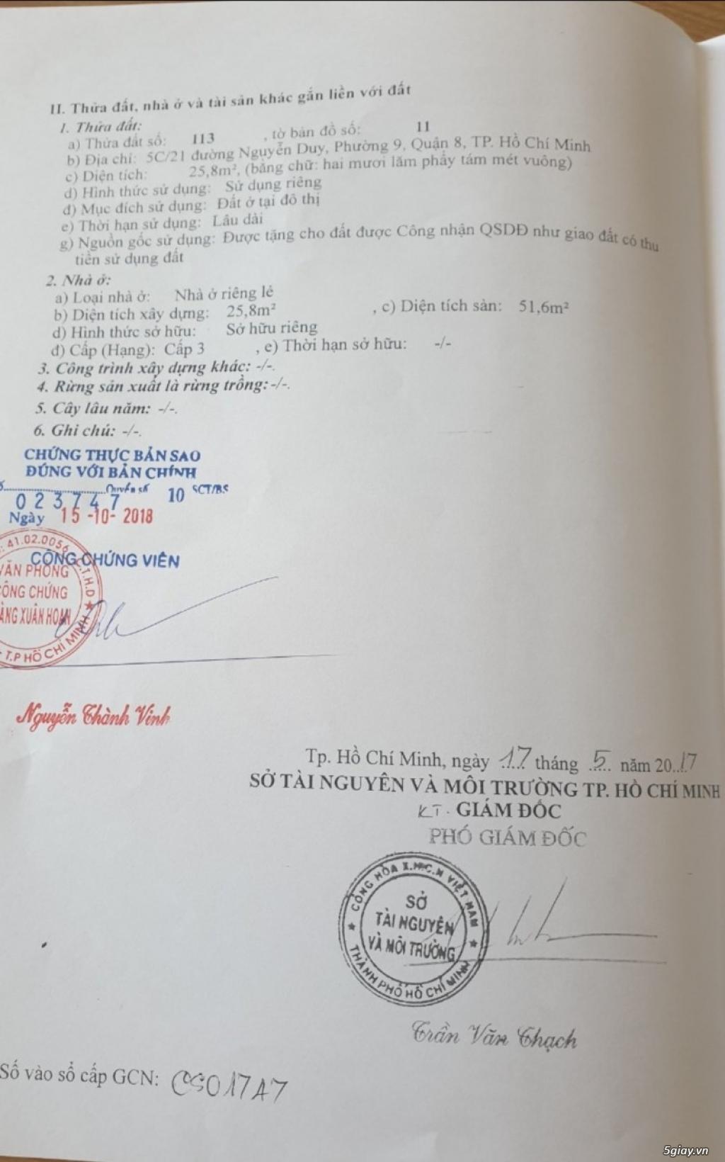 Nhà bán đường Nguyễn Duy, P9, Q8. Hẻm rộng 4m5 - Giá còn thương lượng. - 1