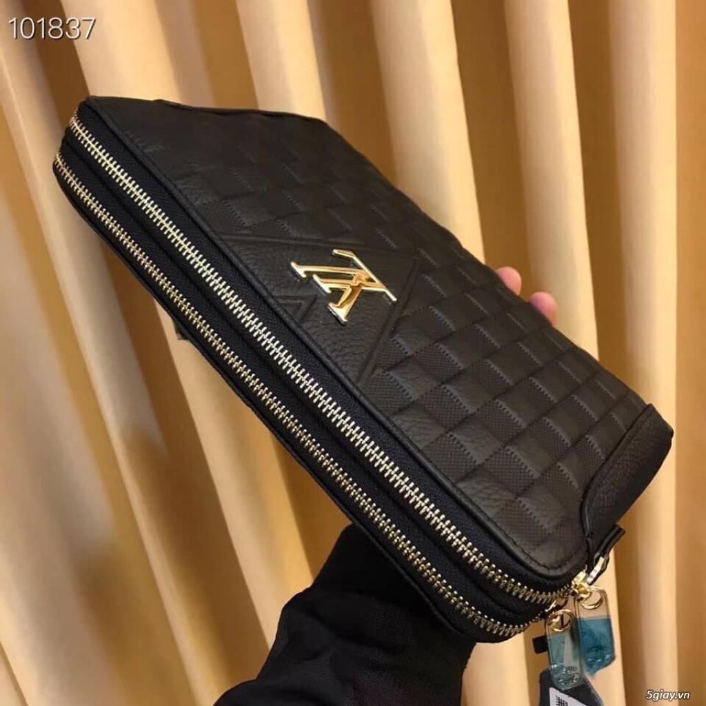Túi clutch LV cầm tay 2 ngăn khóa kéo
