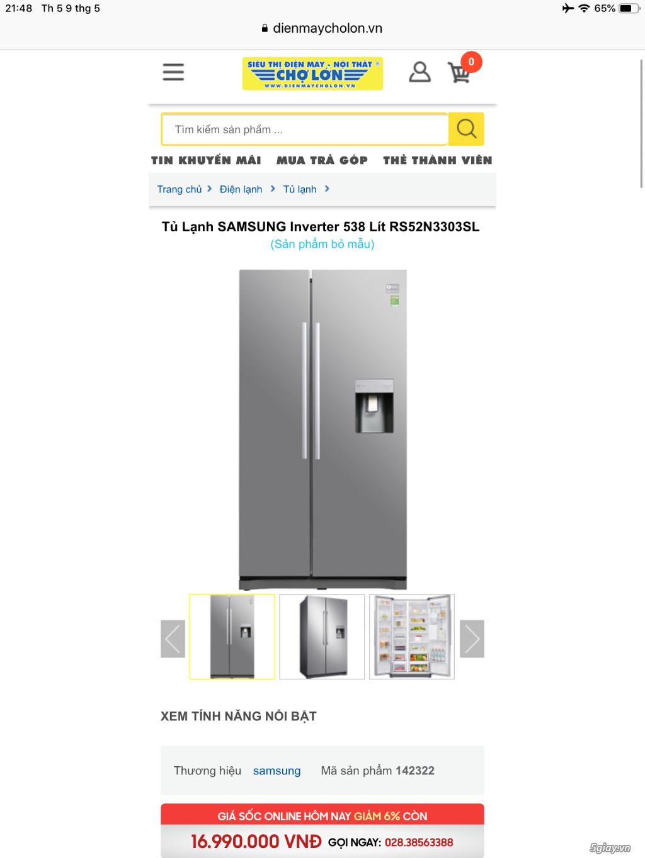 TỦ LẠNH SIDEBYSIDE SAMSUNG 538L INVERTER MỚI 100% - 2