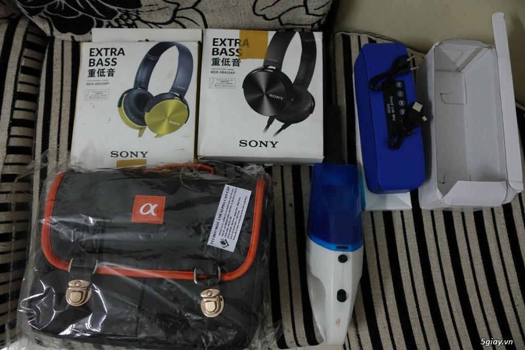 Thanh lý tai nghe Sony, loa bluetooth, máy hút bụi mini, túi máy ảnh.