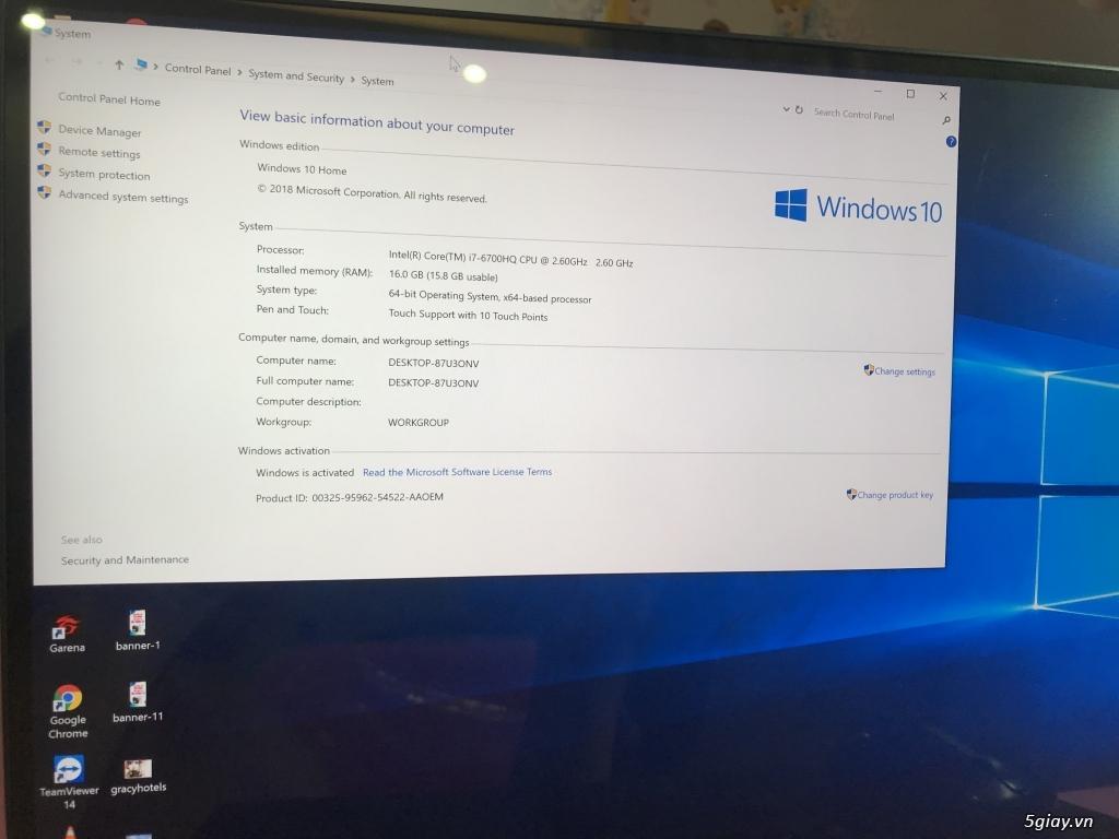 Bán Laptop Dell XPS 9550 - i7 6700HQ, Ram 16Gb, SSD 256Gb,  4k cảm ứng - 2