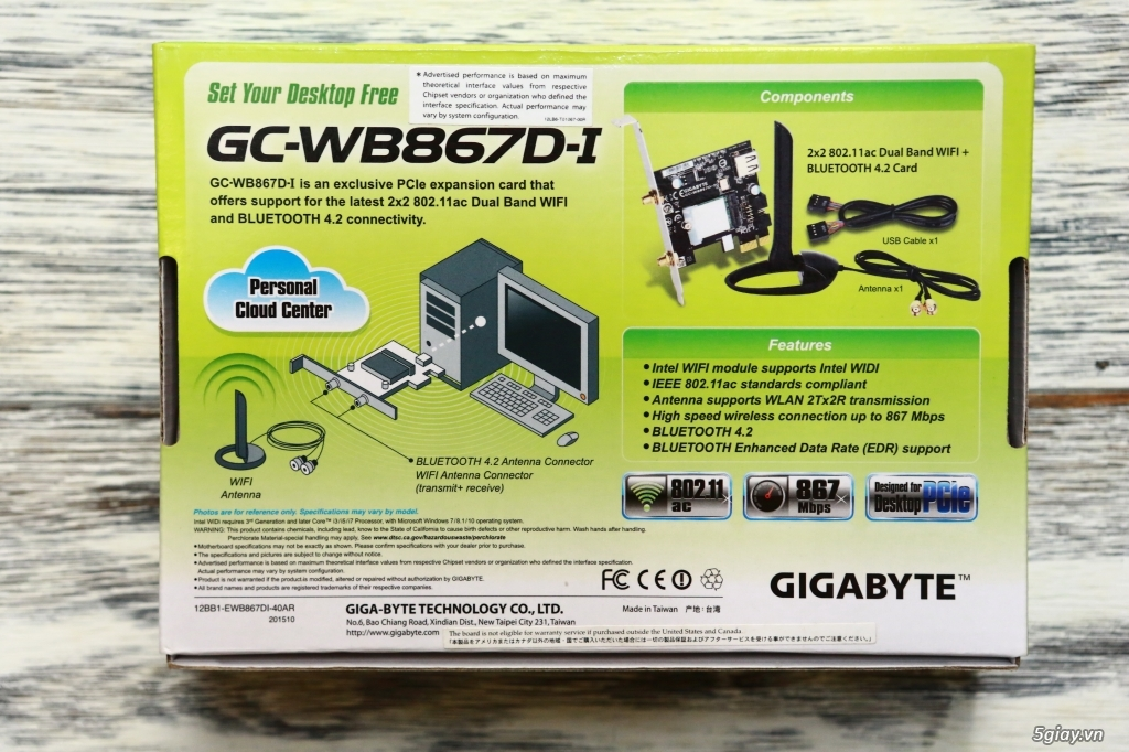 Gigabyte GC-WB867D-I Wifi Bluetooth PCI Card - 1
