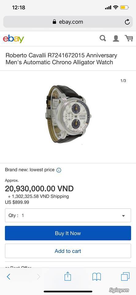 đồng hồ roberto cavalli thụy sỹ máy auto fullbox mới 99%