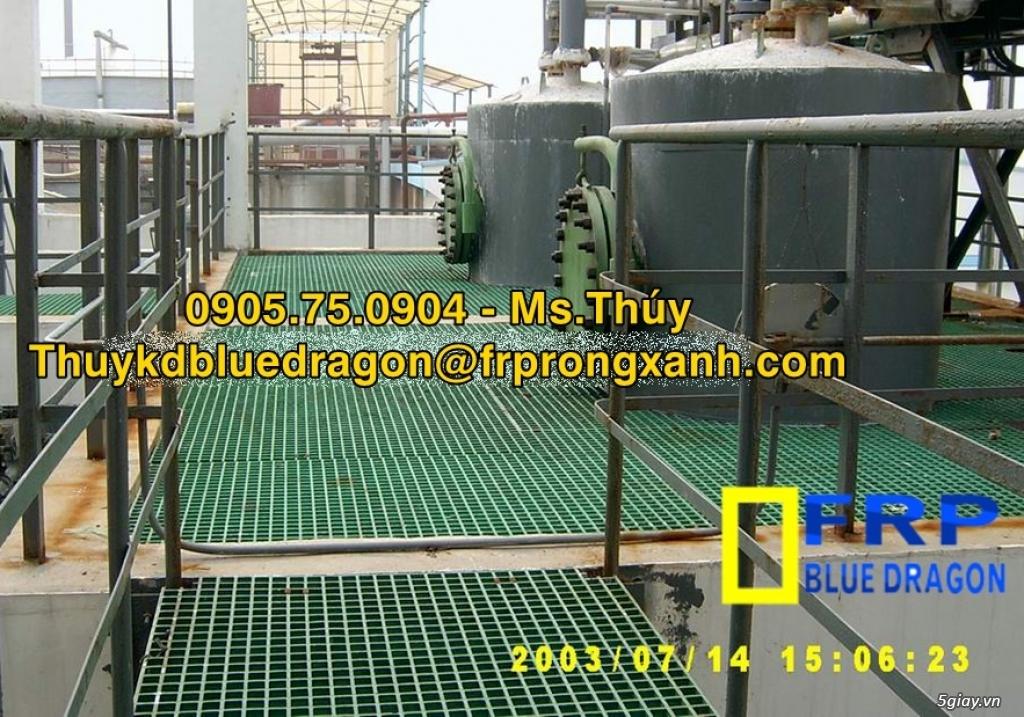 Sàn lót thành hồ xử lý nước thải kháng hóa chất, sàn frp grating