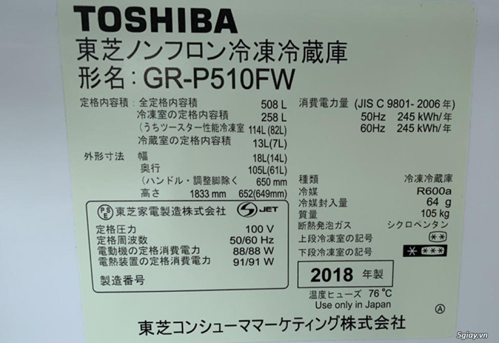 Tủ lạnh TOSHIBA GR-P510FW 508L cửa từ mặt gương hàng trưng bày 2018 - 1