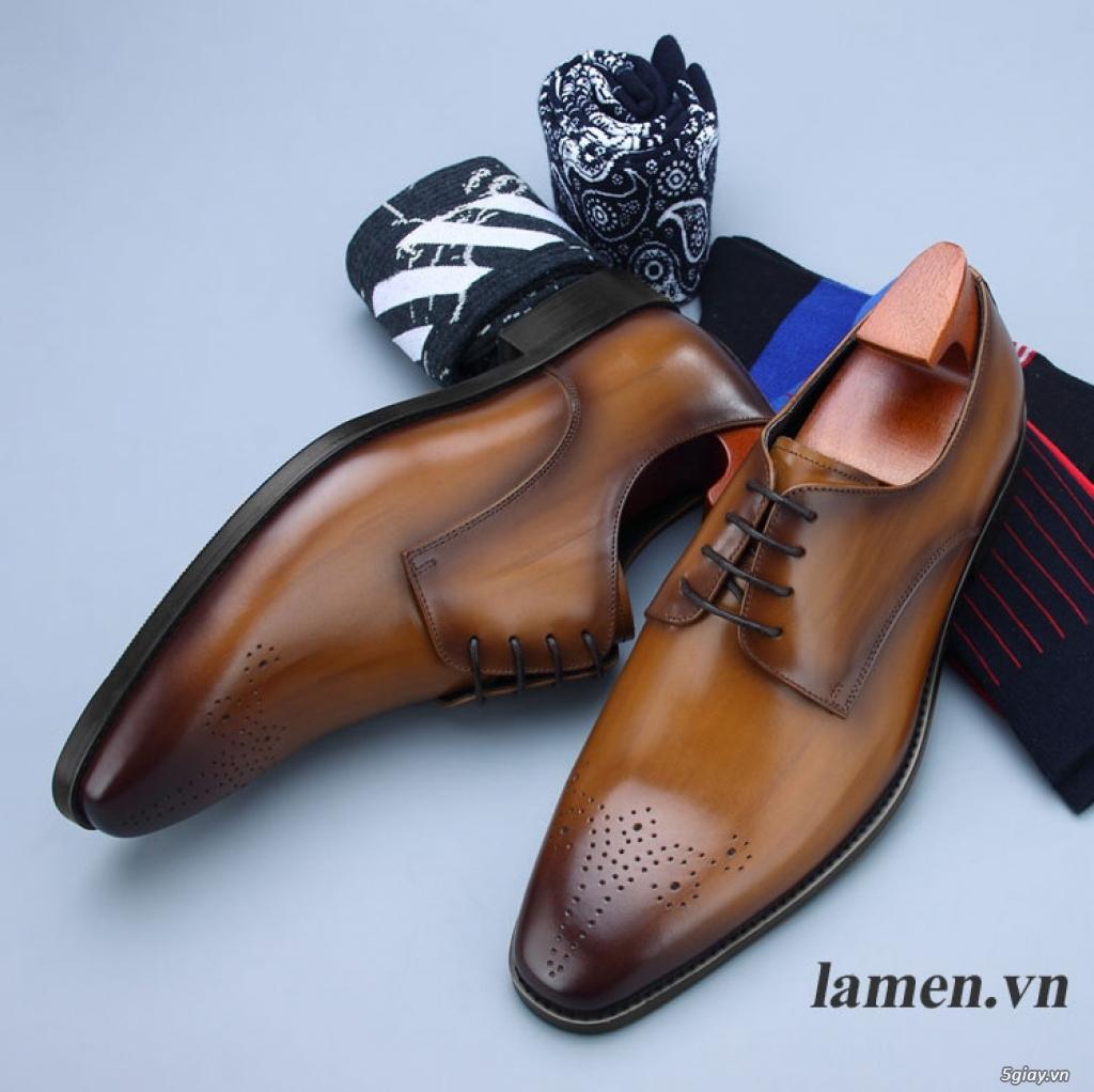 Giày da bò nam, giày nam công sở buộc dây cao cấp - 7