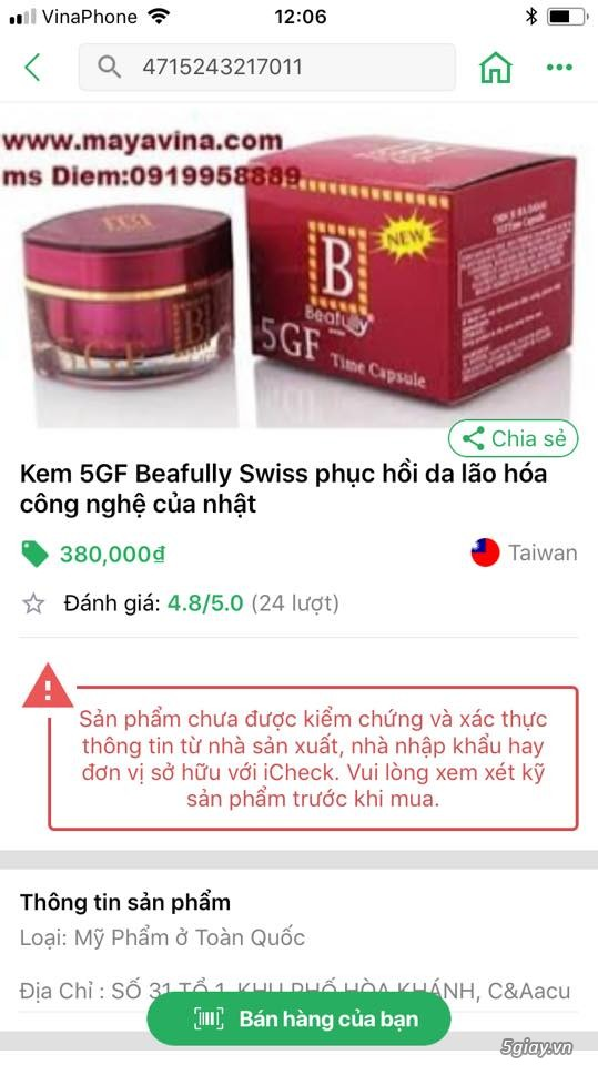 Kem 5GF, 9gf ,7gf Beafully Swiss phục hồi da lão hóa - 1