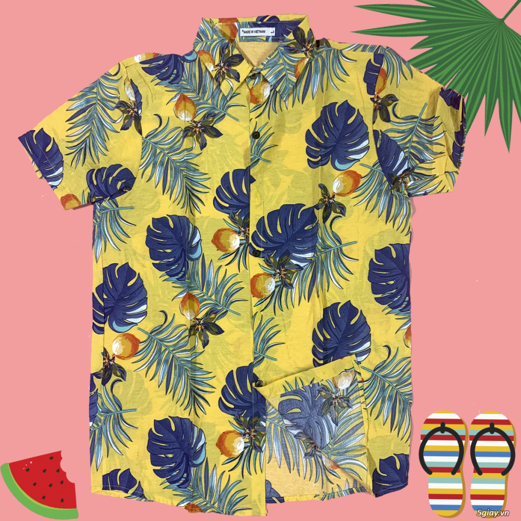Áo sơ mi đũi họa tiết hawaii giá chỉ 99k - 4