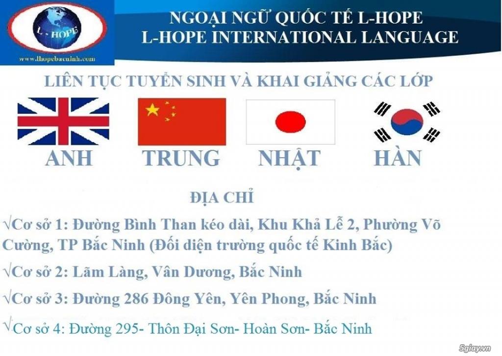 L-Hope tuyển sinh lớp học TIẾNG ANH-TRUNG-NHẬT-HÀN