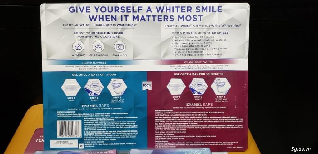Miếng dán trắng răng và kem đánh răng Crest 3D White ( Xách Tay Mỹ ) - 3