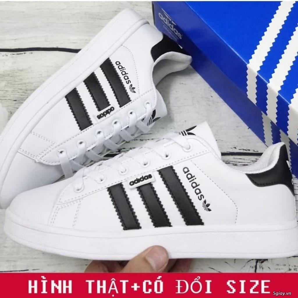 Giày Superstar trắng 3 sọc đen trơn nam nữ hàng đẹp - 2