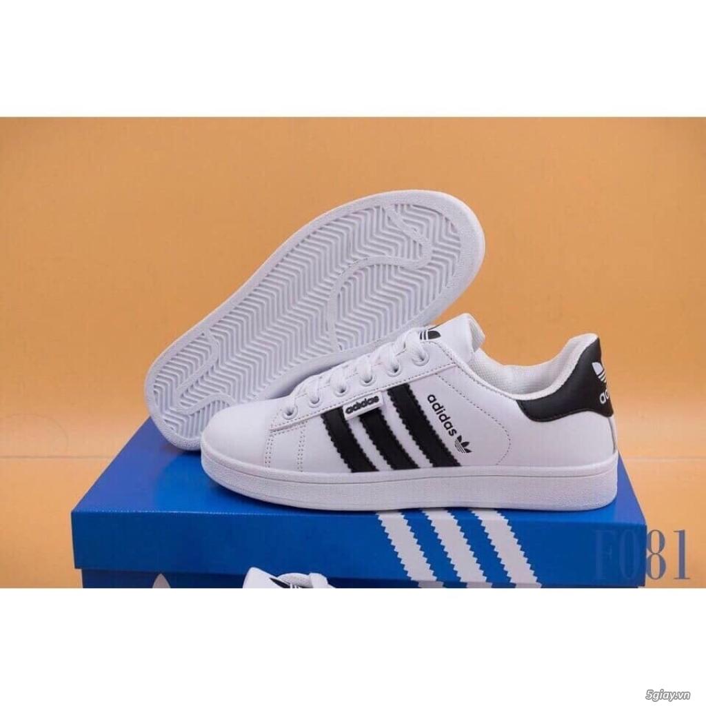 Giày Superstar trắng 3 sọc đen trơn nam nữ hàng đẹp - 3