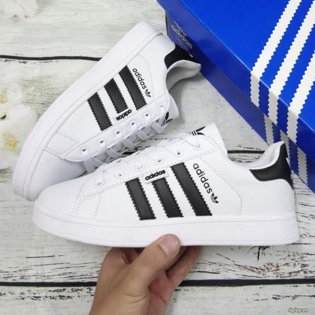 Giày Superstar trắng 3 sọc đen trơn nam nữ hàng đẹp - 1