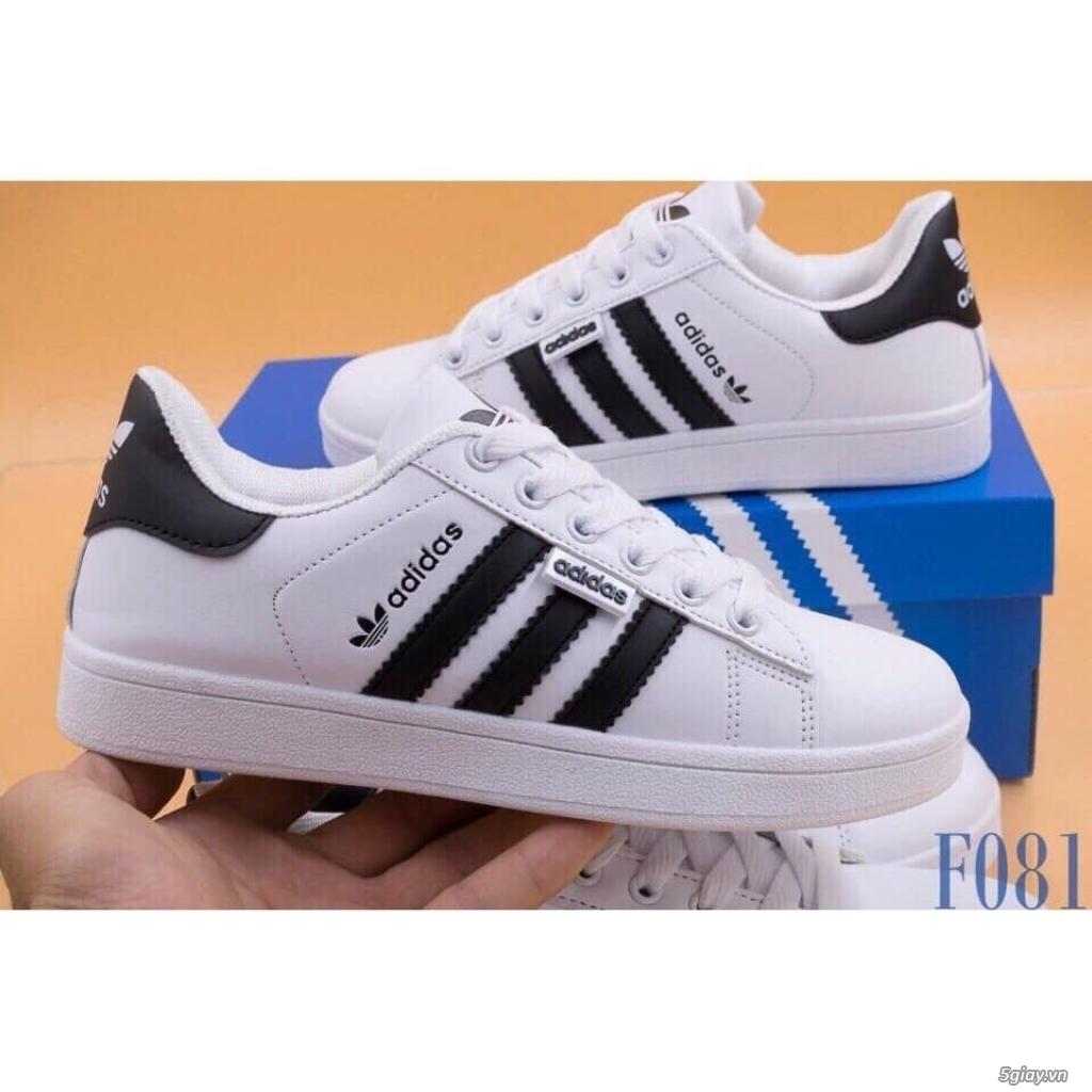 Giày Superstar trắng 3 sọc đen trơn nam nữ hàng đẹp