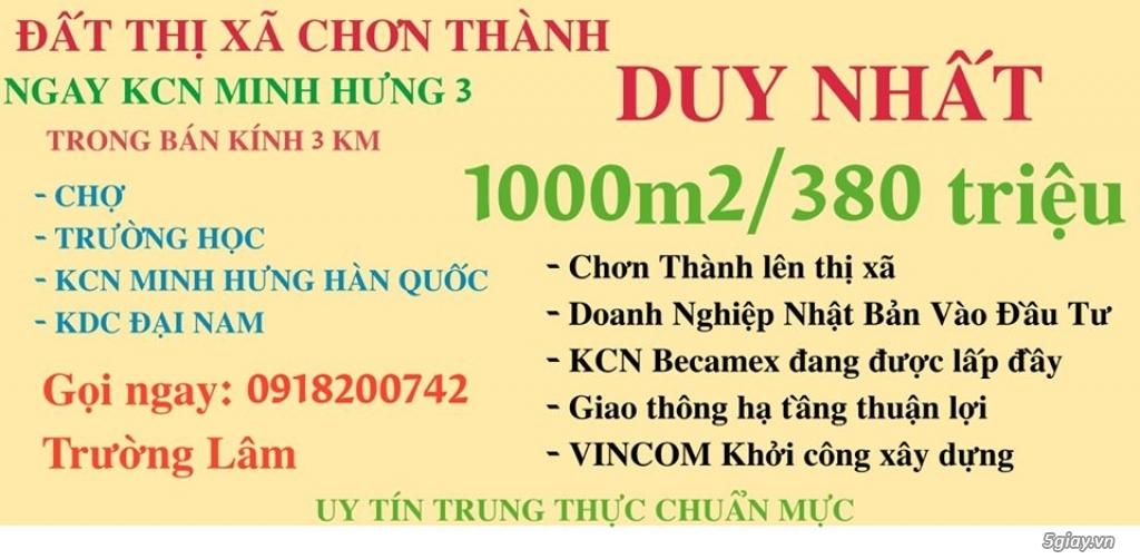 Cần Bán: 1000m2 Đất Chơn Thành chỉ 380 triệu ngay KCN Minh Hưng 3 - 1