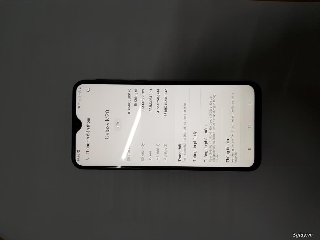 Samsung M20 màu xám, fullbox 99,99%, BH 23/5/2020 - 1