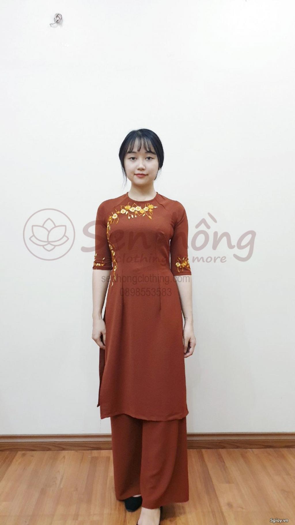 Áo dài cách tân Phật tử đi lễ - Pháp phục cao cấp hcm ANCLOTHING - 11