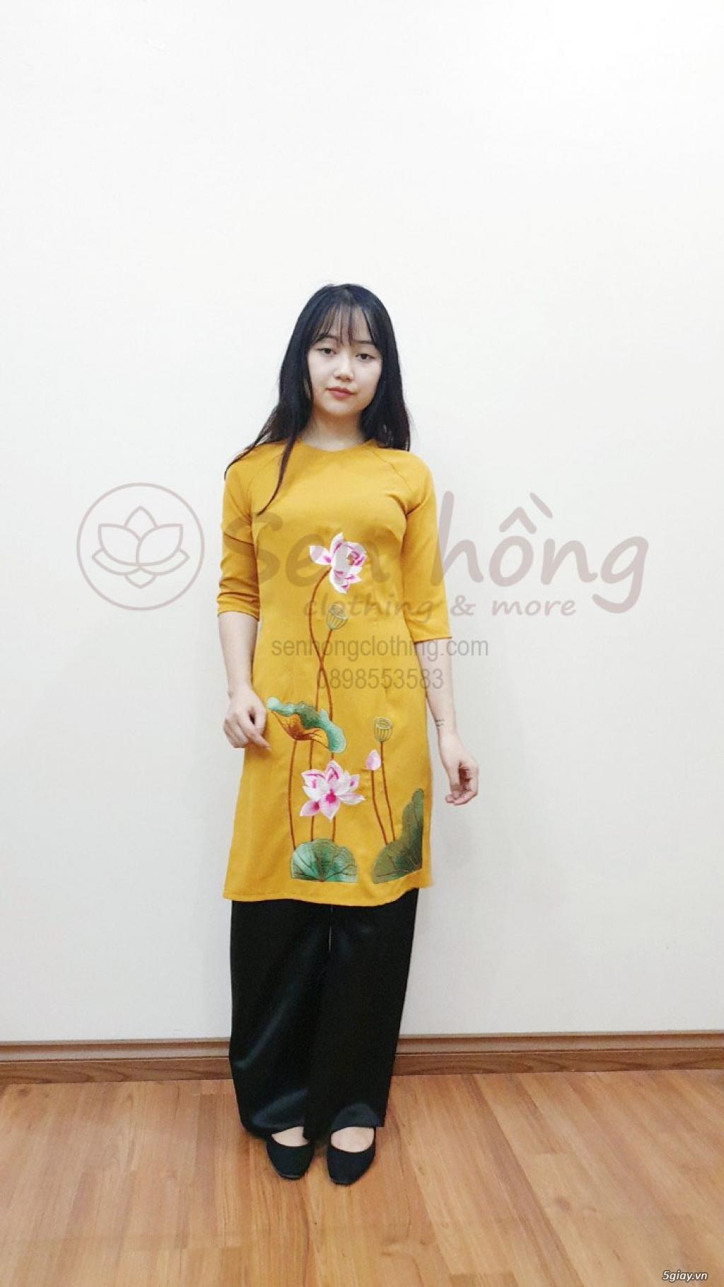 Áo dài cách tân Phật tử đi lễ - Pháp phục cao cấp hcm ANCLOTHING - 15