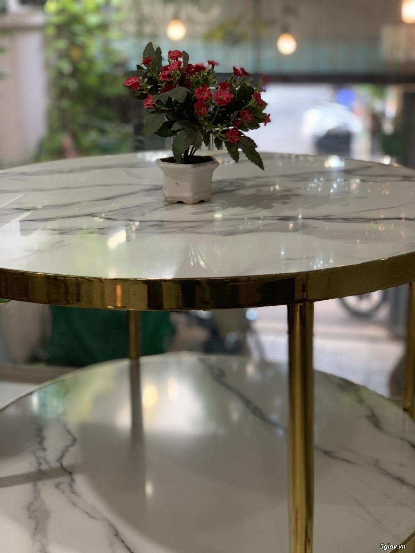 Bàn trà sofa 2 tầng mặt đá , chân inox mạ vàng - 3