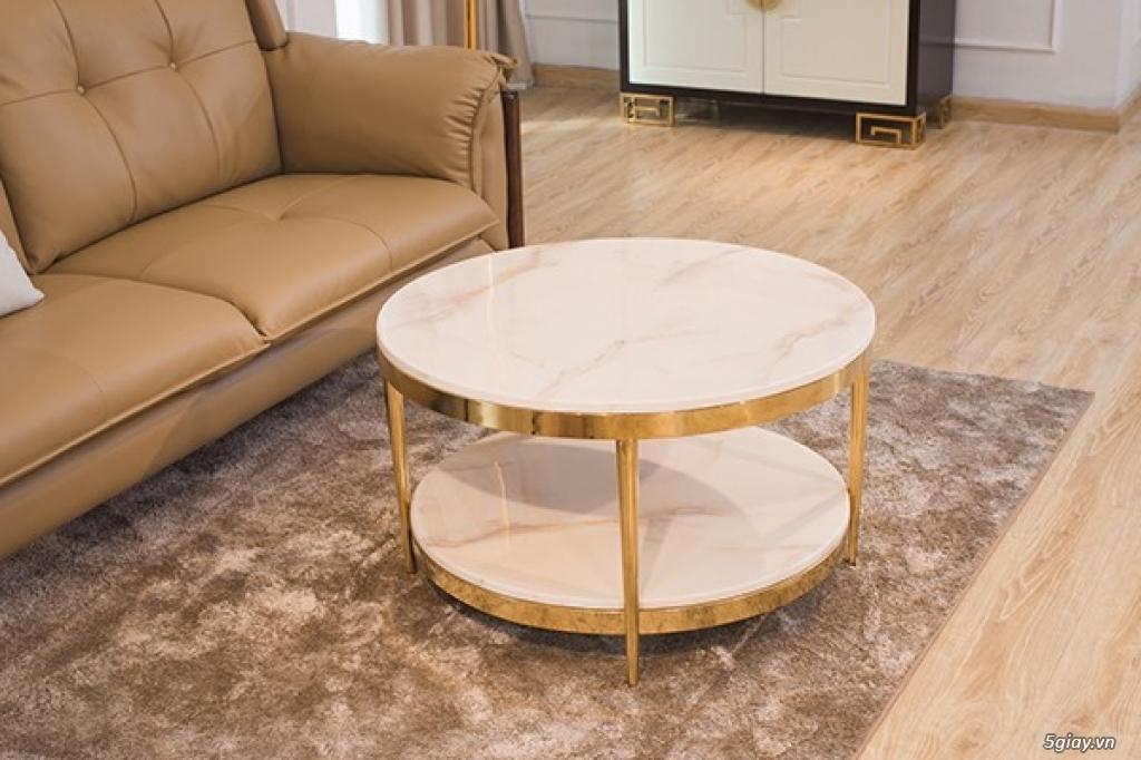 Bàn trà sofa 2 tầng mặt đá , chân inox mạ vàng