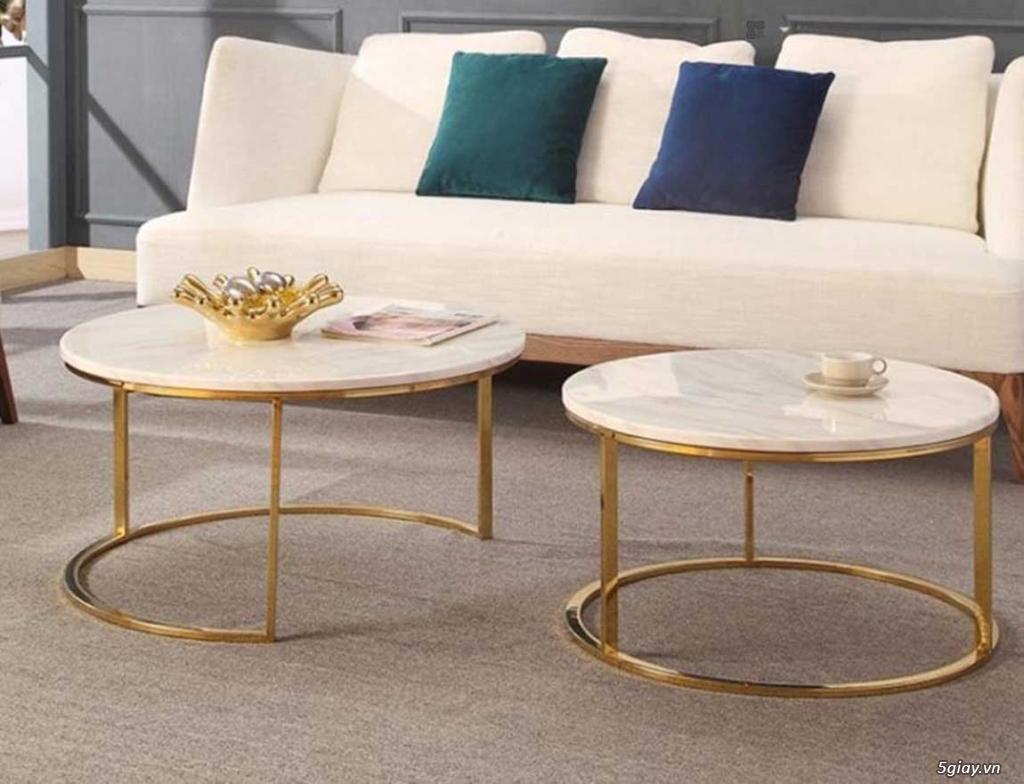 Bàn trà đôi sofa mạ vàng