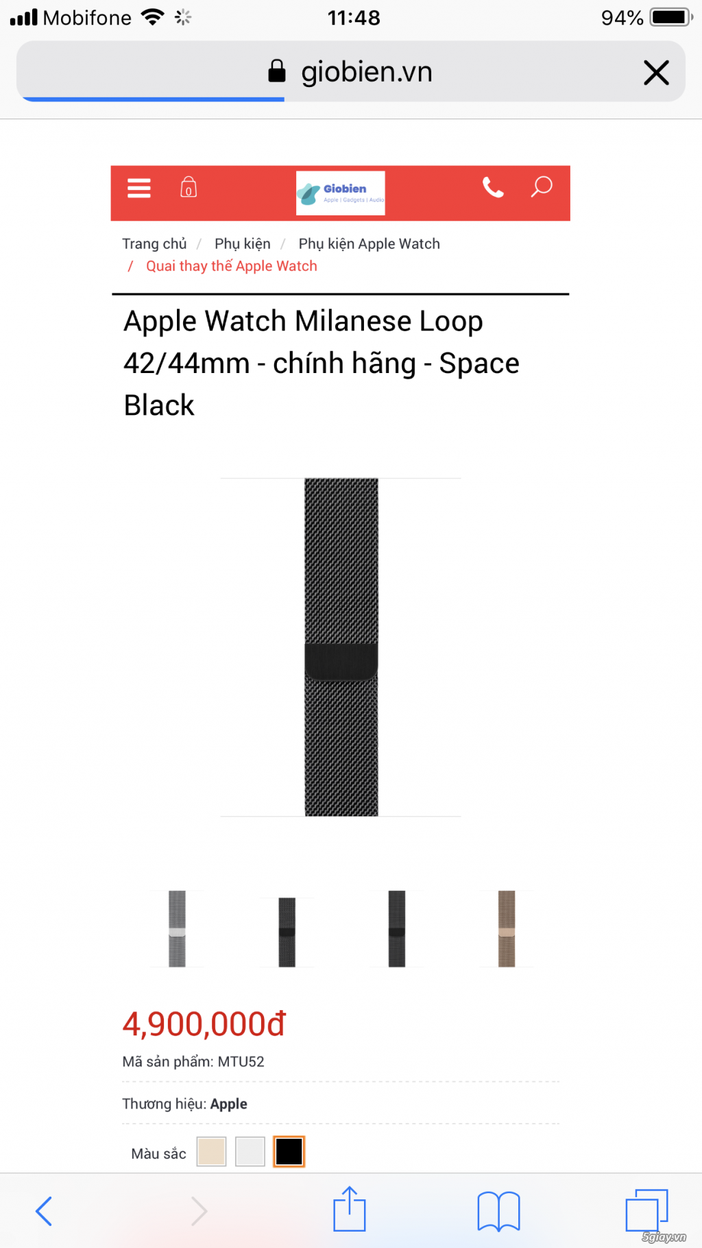 Dây đeo apple watch milanese loop black zin bóc máy like new