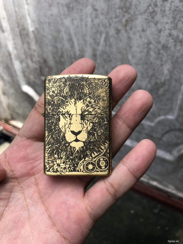 Quẹt zippo  hình sư tử  full 5 mặt end 22h59 ngày 14/9/2019