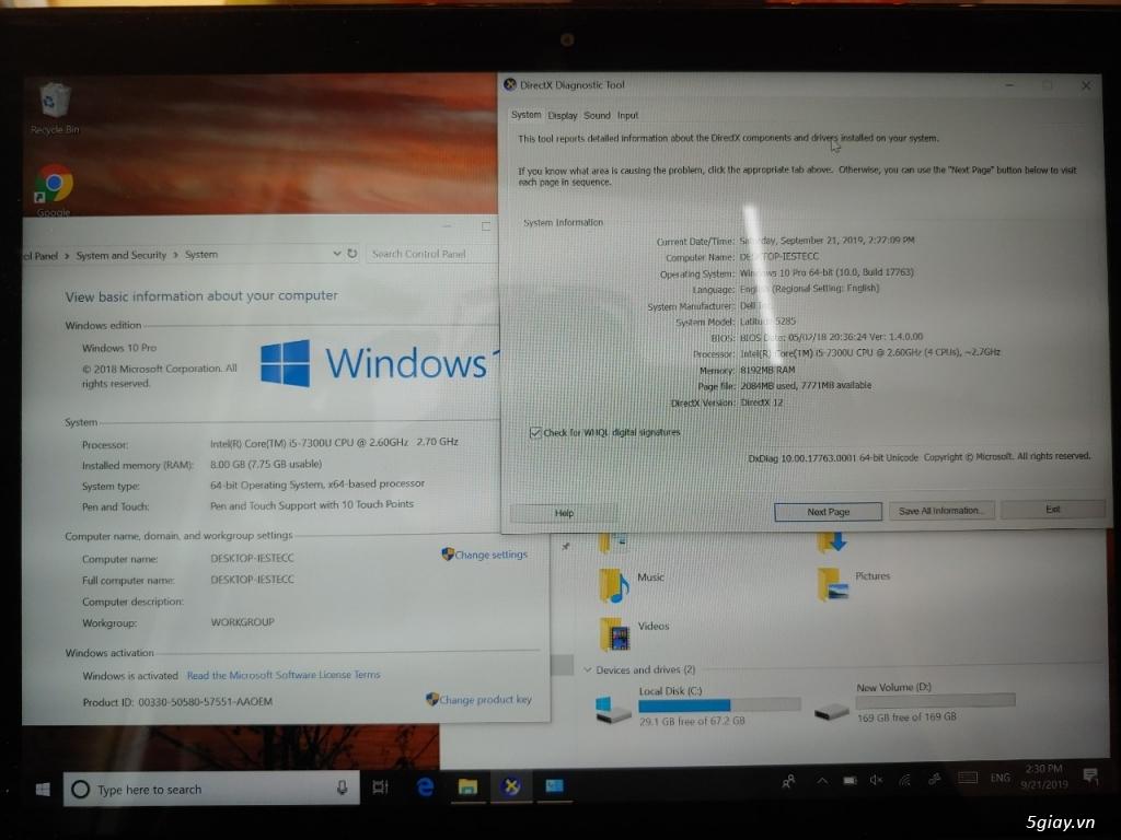 Dell Latitude 5285 12inch I5 7300 8Gb  M.2 256gb NVMe - 2