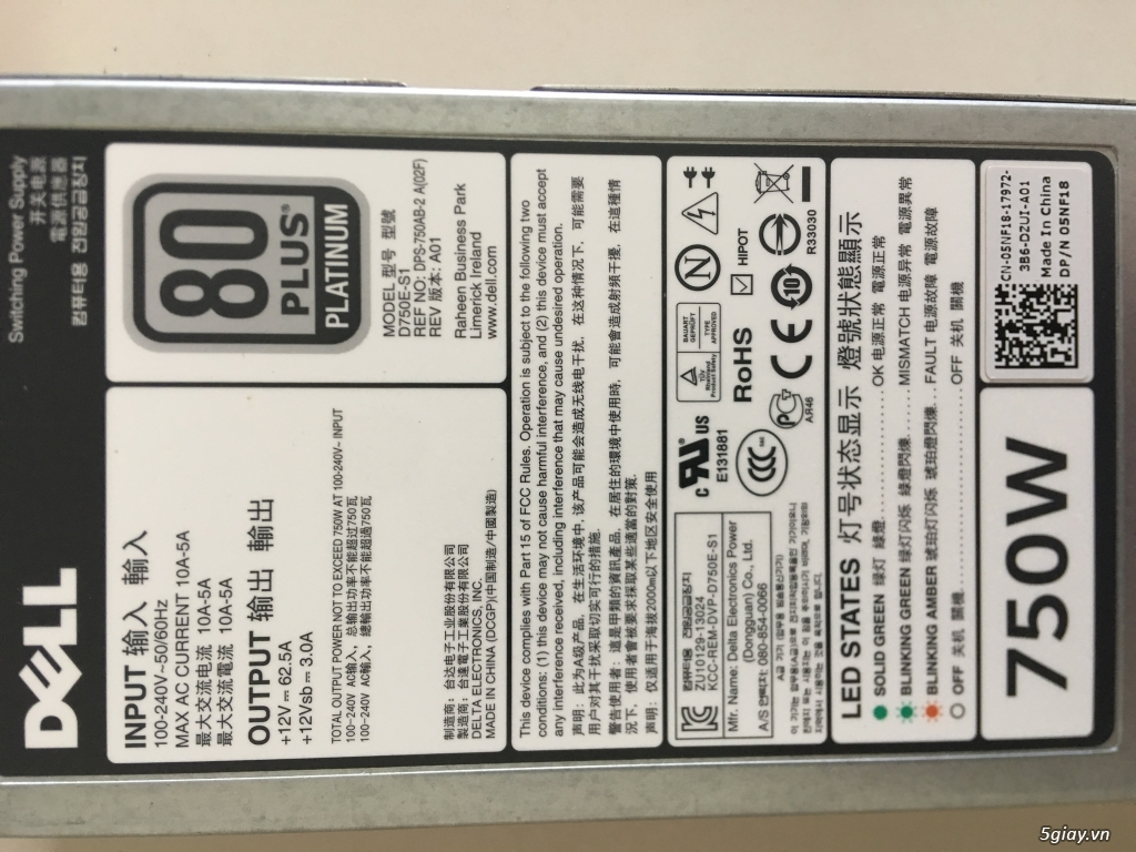 Power Supply 750W 80+ platinum for Dell, US zin