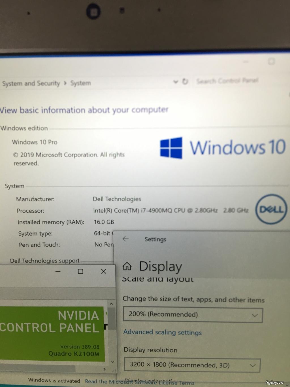 Dell Precision M4800 i7 4900mq, K2100M, 3k(3200x1800p), US zin
