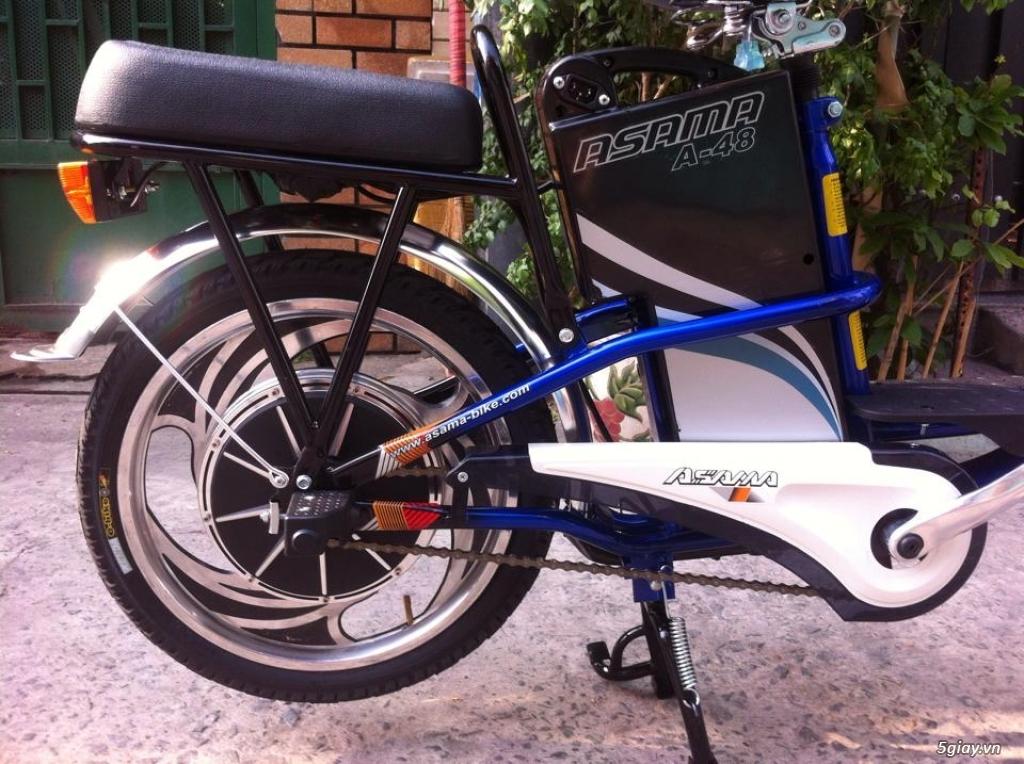 Xe đạp điện Asama màu xanh, bảo hành còn hơn 10 tháng .